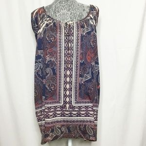 Catherines Red Blue Aztec Shirt Women 4X Tunic Tie